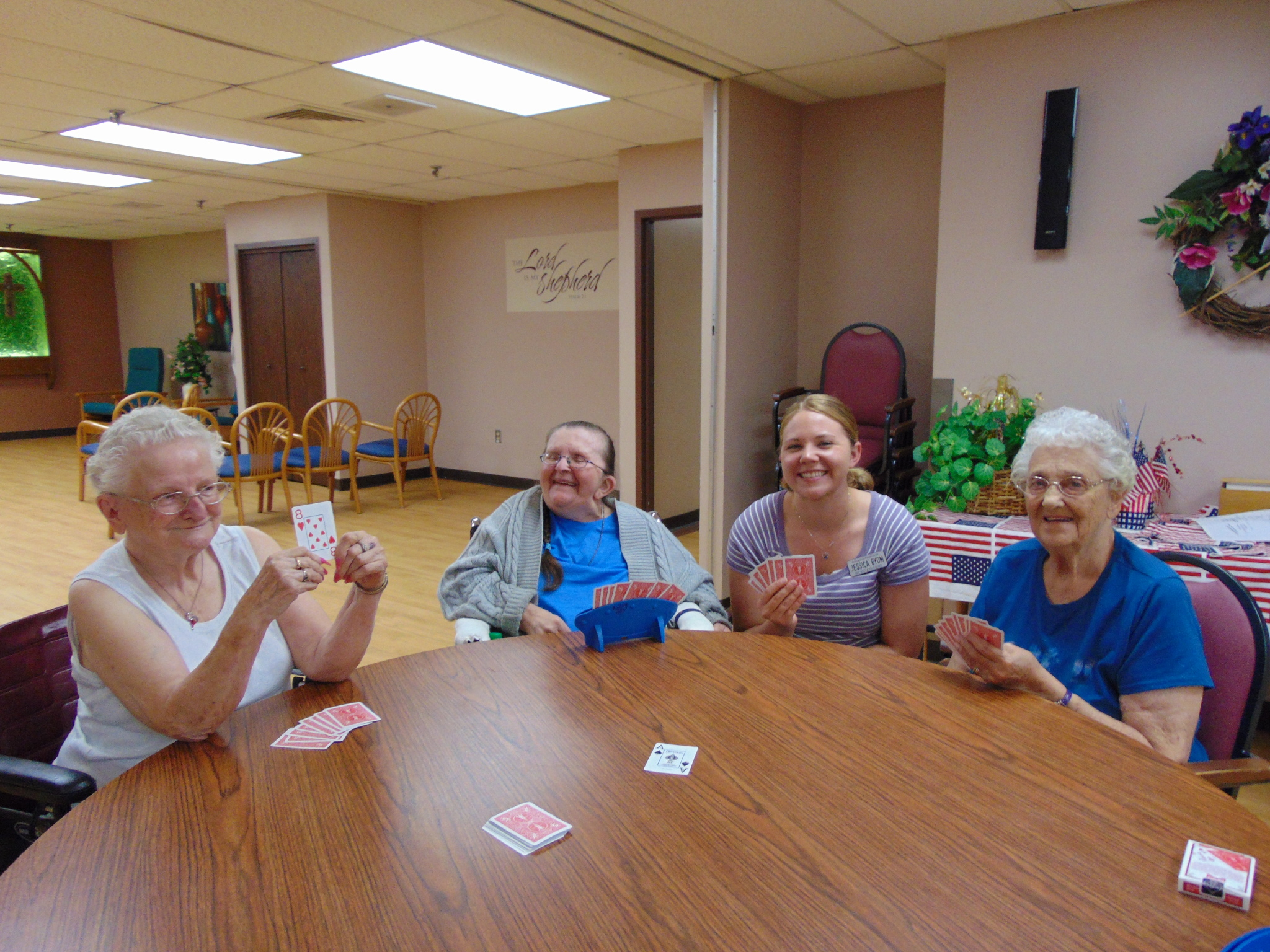 Playing Cards with Activity Staff