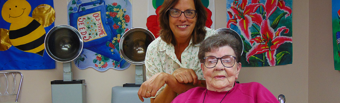 Beauty shop at Rolling Hills Rehabilitation Center and Retirement Home in Sparta, WI