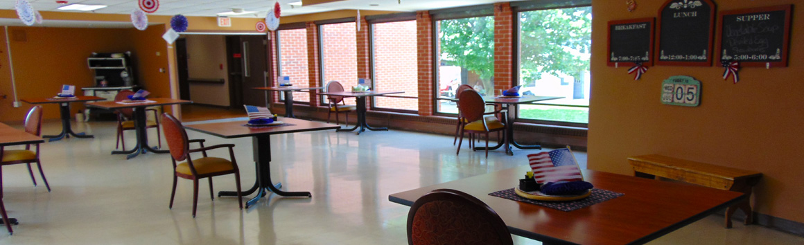 Resident dining room at Rolling Hills Rehabilitation Center and Retirement Home in Sparta, WI