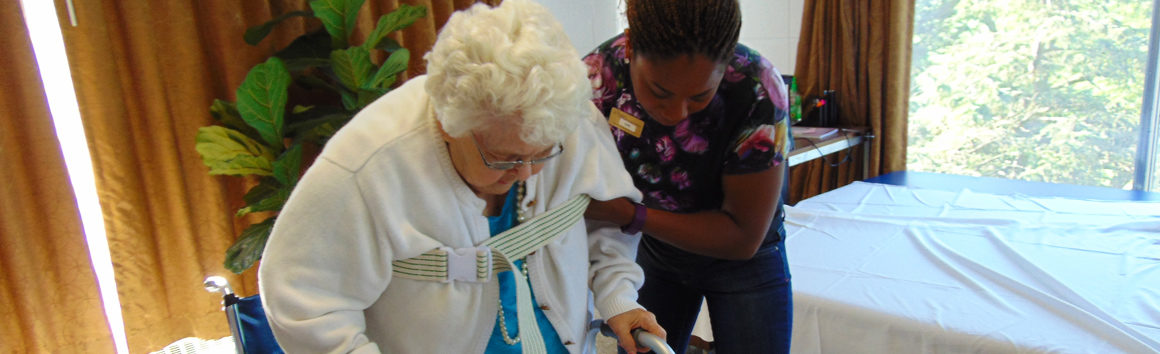 Nurse Helping Resident at Rolling Hills in Sparta, Wisconsin